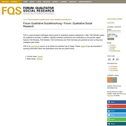 Forum Qualitative Sozialforschung / Forum: Qualitative Social Research
