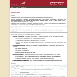 RWJF - Qualitative Research Guidelines Project