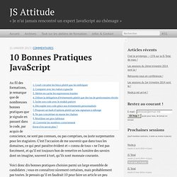 10 bonnes pratiques JavaScript • JS Attitude : formations JavaScript qualitatives et sympathiques