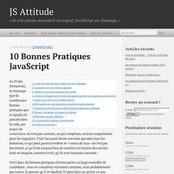 10 bonnes pratiques JavaScript