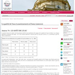 SENAT - Rapport d'information - La qualité de l'eau et de l'assainissement en France - INTÉRÊT ET LIMITES DE LA CHLORATION POUR