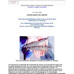 UNIVERSITE DE LIEGE 19/05/04 NOUVELLE RECHERCHE-ACTION SUR LA QUALITE DES CREVETTES AU VIETNAM