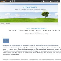 LA QUALITE EN FORMATION : REFLEXIONS SUR LA METHODE