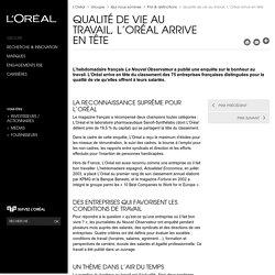 Qualité de vie au travail, L'Oréal arrive en tête - Prix & distinctions - L'Oréal Groupe