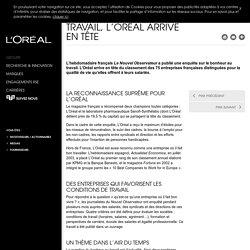 Qualité de vie au travail, L'Oréal arrive en tête - Prix & distinctions