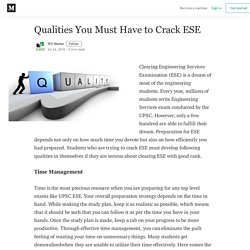 Qualities You Must Have to Crack ESE - IES Master - Medium