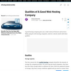 Qualities of A Good Web Hosting Company