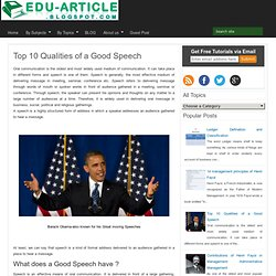 Top 10 Qualities of a Good Speech