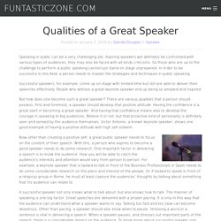 Qualities of a Great Speaker