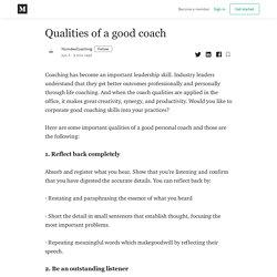 Qualities of a good coach - HumdevCoaching - Medium