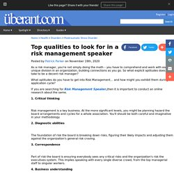 Top qualities to look for in a risk management speaker