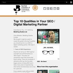 Top 10 Qualities in Your SEO / Digital Marketing Partner
