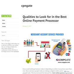 Qualities to Look for in the Best Online Payment Processor – cpngate