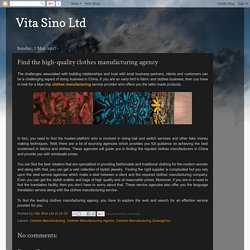 Vita Sino Ltd: Find the high-quality clothes manufacturing agency