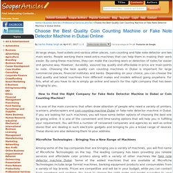 Choose the Best Quality Coin Counting Machine or Fake Note Detector Machine in Dubai Online