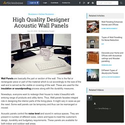 High Quality Designer Acoustic Wall Panels