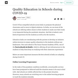 Quality Education in Schools during COVID-19 - Vaibhav Tripathi - Medium