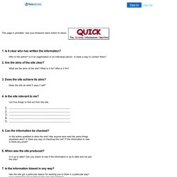 The Quality Information Checklist