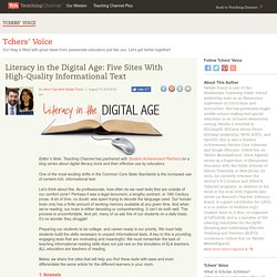 Literacy in the Digital Age: Five Sites With High-Quality Informational Text