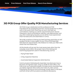 JID PCB Group Offer Quality PCB Manufacturing Services