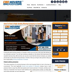 Best Moving Companies Canada
