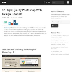 20 High Quality Photoshop Web Design Tutorials | Tutorials