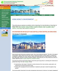 EPD - AIR QUALITY AND AIR POLLUTION CONTROL IN HONG KONG