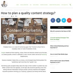 How to plan a quality content strategy? - Ade Camilleri