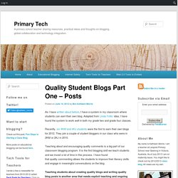 Quality Student Blogs Part One – Posts