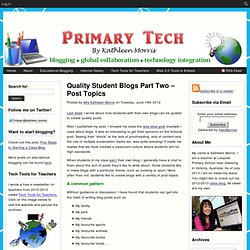 Quality Student Blogs Part Two – Post Topics