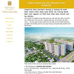 Tổng quan dự án Imperia Sky Garden 423 Minh Khai