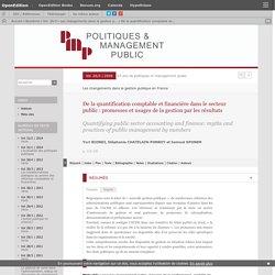 De la quantification comptable et financière dans le secteur public: promesses et usages de la gestion par les résultats