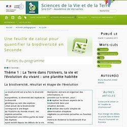 Une feuille de calcul pour quantifier la biodiversité en Seconde - Sciences de la Vie et de la Terre
