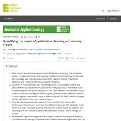 JOURNAL OF APPLIED ECOLOGY 10/07/18 Quantifying the impact of pesticides on learning and memory in bees