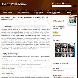 PHYSIQUE QUANTIQUE ET REALISME SCIENTIFIQUE, par Quentin Ruyant