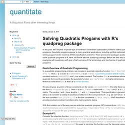 Solving Quadratic Progams with R's quadprog package