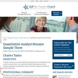 Quantitative Analyst Resume Sample Three
