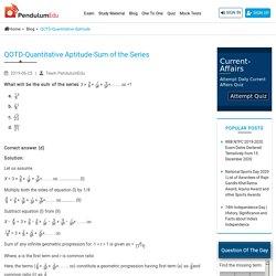 QOTD-Quantitative Aptitude-Sum of the series