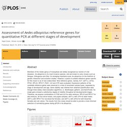 PLOS 19/03/18 Assessment of Aedes albopictus reference genes for quantitative PCR at different stages of development