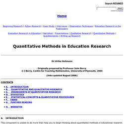 Quantitative Methods in Education Research