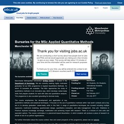 Bursaries for the MSc Applied Quantitative Methods - Manchester Metropolitan University