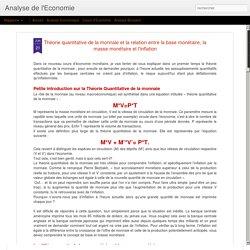 Théorie quantitative de la monnaie et la relation entre la base monétaire, la masse monétaire et l'inflation