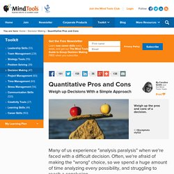 Quantitative Pros and Cons - From MindTools.com