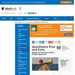 Quantitative Pros and Cons - From MindTools.com