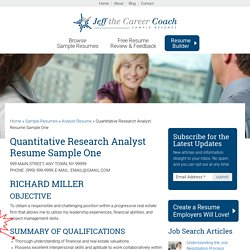 Quantitative Research Analyst Resume Sample One