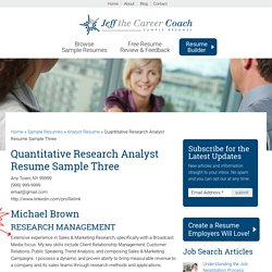 Quantitative Research Analyst Resume Sample Three