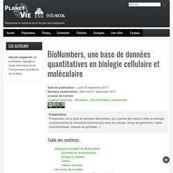 BioNumbers, une base de données quantitatives en biologie cellulaire et moléculaire