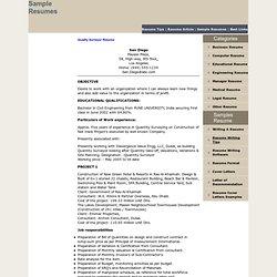 Free Quantity Surveyor Resume : Sample Quantity Surveyor Resume