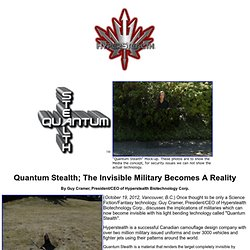 Quantum Stealth; The Invisible Military Becomes A Reality
