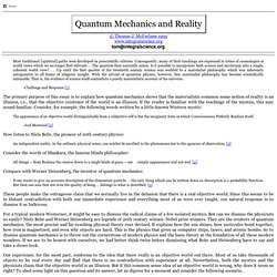 Quantum Mechanics and Reality, by Thomas J McFarlane